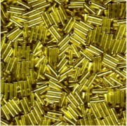 Miyuki Stäbchen Perlen Bugle Beads 6mm 0006 transparent silverlined Mustard Yellow 10gr