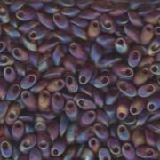 Miyuki Long Magatama Perlen 4x7mm ca8,5gr 0134FR transparent rainbow matt Dark golden Brown