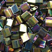 Miyuki Tila Perlen 5mm rainbow metallic Purple Gold TL0188 ca 7,2gr