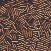 Miyuki Stäbchen Perlen Bugle Beads 6mm 2006 matt metallic dark Bronze ca 10gr