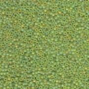 Miyuki Rocailles Perlen 2mm 0143FR transparent rainbow matt Lime Green 12gr