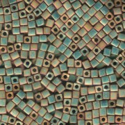 Miyuki Würfel Perlen, Cube, Square Beads 3mm 2035 metallic rainbow matt Rose - Green 25gr