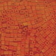 Miyuki Würfel Perlen, Cube, Square Beads 4mm 0138F transparent matt Orange 20gr