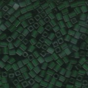 Miyuki Würfel Perlen, Cube, Square Beads 4mm 0146F transparent matt Green 20gr