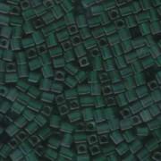 Miyuki Würfel Perlen, Cube, Square Beads 4mm 0147F transparent matt Dark Green 20gr