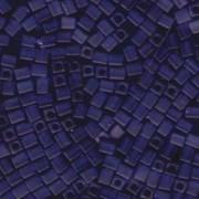 Miyuki Würfel Perlen, Cube, Square Beads 4mm 0151F transparent matt Dark Cobalt 20gr