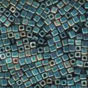 Miyuki Würfel Perlen, Cube, Square Beads 1,8mm 2008 metallic rainbow matt Turquoise Light Green 12gr