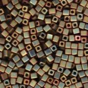 Miyuki Würfel Perlen, Cube, Square Beads 4mm 2035 metallic rainbow matt Rose - Green 20gr