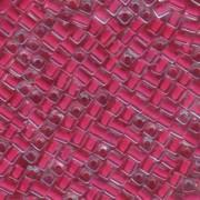 Miyuki Würfel Perlen, Cube, Square Beads 1,8mm 0208 insinde colorlined Raspberry 12gr