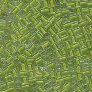 Miyuki Würfel Perlen, Cube, Square Beads 4mm 0245 insinde colorlined Lime Green 25gr