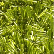 Miyuki Stäbchen Perlen gedreht 12mm 0014 transparent silverlined Lime Green ca14gr.