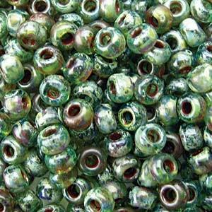 Miyuki Rocailles Picasso Perlen 3mm 4506 transparent Olivine ca 22gr