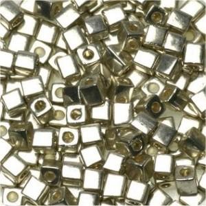 Miyuki Würfel Perlen, Cube, Square Beads 3mm 0961 bright plated Sterling 20gr