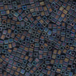 Miyuki Würfel Perlen, Cube, Square Beads 3mm 0401FR opaque matte rainbow Black 20gr