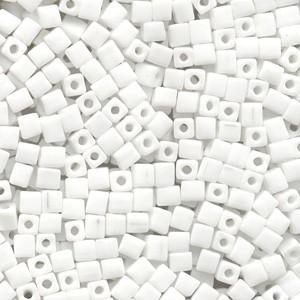 Miyuki Würfel Perlen, Cube, Square Beads 1,8mm 0402 opaque White 12gr