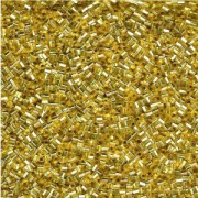 Miyuki Stäbchen Perlen Bugle Beads Hexcut 1,5mm 0003C transparent silverlined Gold 12gr