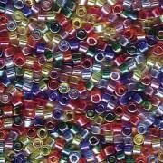 Miyuki Delica Perlen 1,6mm Mix17 transparent Rainbow AB 7,2 Gr.