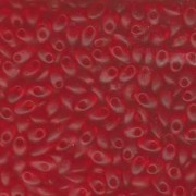 Miyuki Long Magatama Perlen 4x7mm ca8,5gr 0140F transparent rainbow matt Red Orange