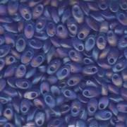 Miyuki Long Magatama Perlen 4x7mm ca8,5gr 0150FR transparent rainbow matt Sapphire Blue
