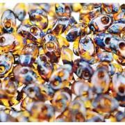 Miyuki Long Magatama Perlen 4x7mm ca8,5gr 4502 transparent Picasso Amber