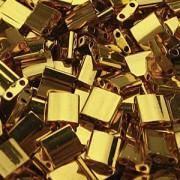Miyuki Tila Perlen 5mm plated 24 Karat Gold TL0191 ca 7,2gr