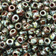 Miyuki Rocailles Picasso Perlen 4mm 4503 transparent Red Brown ca 20gr
