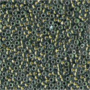 Miyuki Rocailles Perlen 3mm 0229 colorlined crystal Olive Green ca 13gr