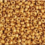 Miyuki Rocailles Perlen 3mm 4203F frosted Duracoat galvanized Yellow Gold ca 22gr