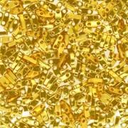 Miyuki Quarter Tila Beads 5x1.5mm Bright 24 Karat Gold Plated ca. 7gr