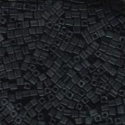 Miyuki Würfel Perlen, Cube, Square Beads 3mm 0401F opaque matte Black 20gr