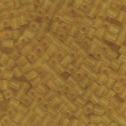 Miyuki Würfel Perlen, Cube, Square Beads 4mm 0132F transparent matt Light Gold 25gr