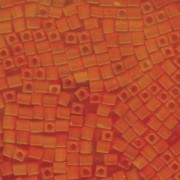 Miyuki Würfel Perlen, Cube, Square Beads 4mm 0138F transparent matt Orange 20gr