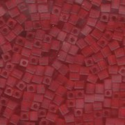 Miyuki Würfel Perlen, Cube, Square Beads 4mm 0140F transparent matt Red 20gr