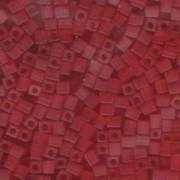 Miyuki Würfel Perlen, Cube, Square Beads 4mm 0140F transparent matt Red 20gr