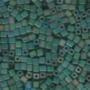 Miyuki Würfel Perlen, Cube, Square Beads 1,8mm 0146FR transparent rainbow matt Green 12gr