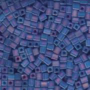 Miyuki Würfel Perlen, Cube, Square Beads 1,8mm 0150FR transparent rainbow matt Sapphire Blue 12gr