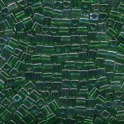 Miyuki Würfel Perlen, Cube, Square Beads 4mm 0179 transparent rainbow Green - Gold 25gr