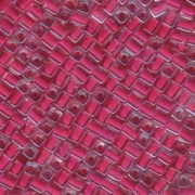 Miyuki Würfel Perlen, Cube, Square Beads 1,8mm 0208 insinde colorlined Raspberry 12gr