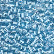 Miyuki Würfel Perlen, Cube, Square Beads 4mm 0220 insinde colorlined Ice Blue 20gr
