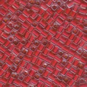 Miyuki Würfel Perlen, Cube, Square Beads 4mm 0226 insinde colorlined Red 25gr