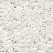 Miyuki Würfel Perlen, Cube, Square Beads 1,8mm 0420 opaque luster White 12gr