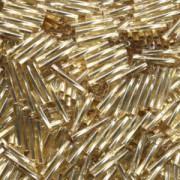 Miyuki Stäbchen Perlen gedreht 12mm 0003 transparent silverlined Gold ca14gr.