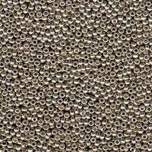 Miyuki Rocailles Perlen 2mm 4221 Duracoat galvanized Smokey Pewter ca 23,5gr