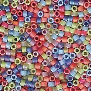 Miyuki Delica Perlen 1,6mm Mix43 matte Rainbow AB 7,2 Gr.