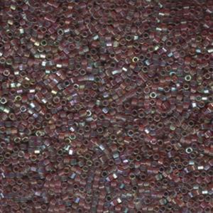 Miyuki Delica Perlen 1,6mm Hexcut DBC0122 transparent luster rainbow golden Brown 5gr