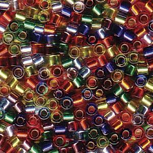 Miyuki Delica Perlen 2,2mm Mix38 silverlined Rainbow 7,2 Gr.
