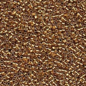 Miyuki Delica Perlen 2,2mm DBM1832F Duracoat frosted galvanized Gold ca 7,2 Gr.