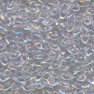 Miyuki Long Magatama Perlen 4x7mm ca8,5gr 0250 transparent rainbow Clear