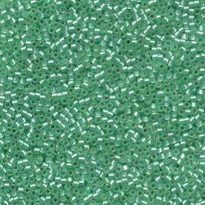 Miyuki Delica Perlen 1,6mm DB0691 transparent silverlined semi matt Mint 5gr