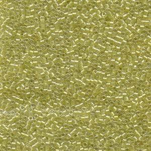 Miyuki Delica Perlen 1,6mm DB0910 inside colorlined sparkle Crystal light Yellow 5gr